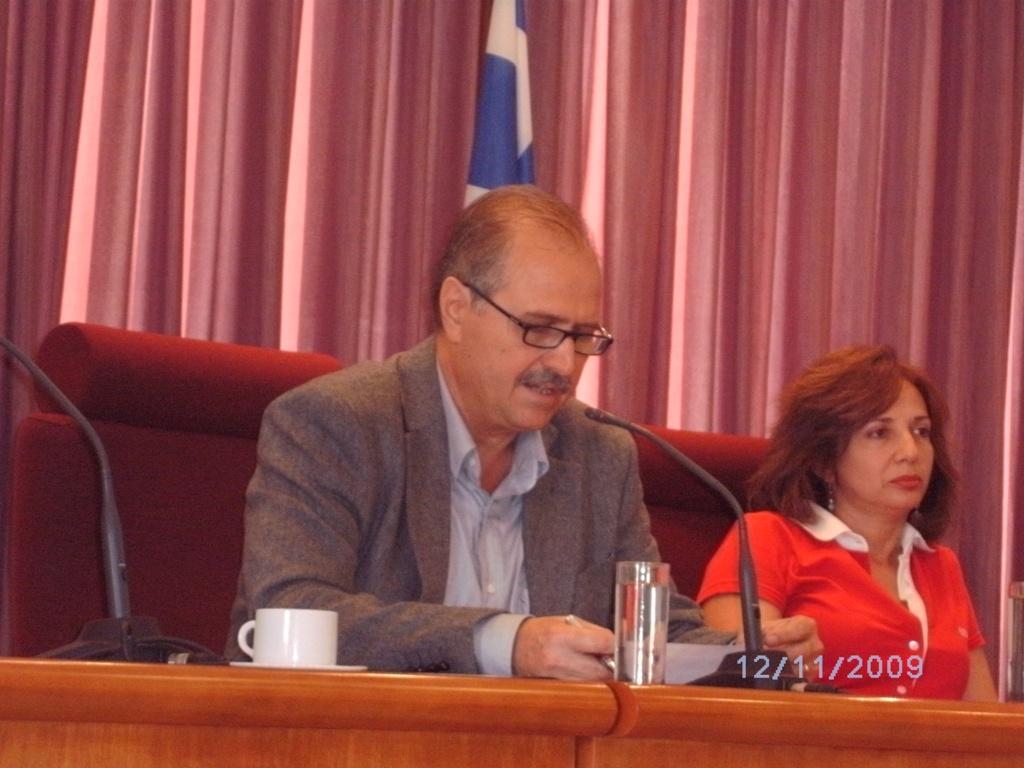 Ο πρόεδρος του ΣΠΕΔΕΗ Αλεξ. Κλάδος με την πρόεδρος της ΕΜΔΥΔΑΣ Ανατ. Κρήτης Ειρήνη Βρέντζου